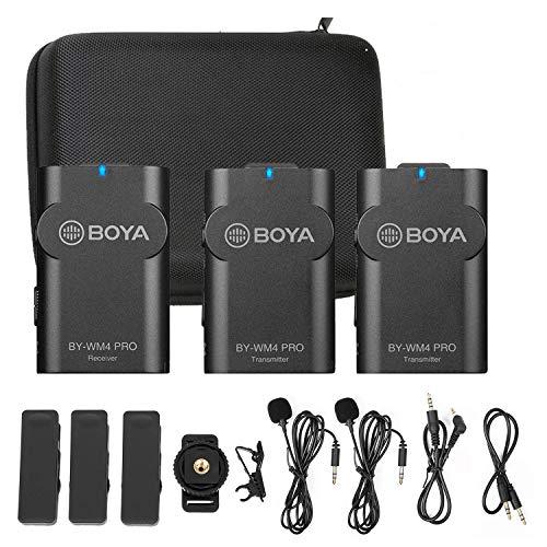 Boya - Microfono Lavalier 2.4 G senza fili, per Vlog, per fotocamera DSLR e smartphone, sistema compatibile con iOS, Android e con fotocamere Canon, Nikon, per Live Podcast (K2), YouTube, Facebook