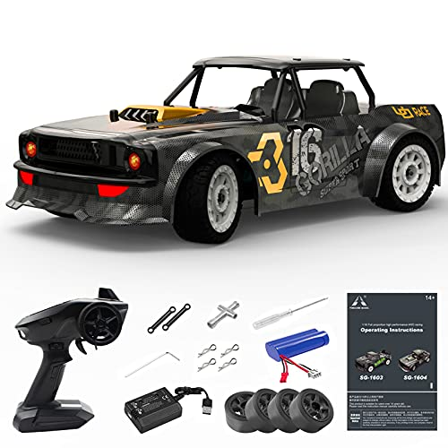 Hitish Remote Control Car, 1/16 Scale 30MPH High Speed Fast RC Drift Car, 2.4Ghz Steering Control Full Scale Off-Road RC Car 4X4 Monster Truck Vehicle with Lights for Kids & Adults