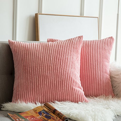 MIULEE Pack of 2 Corduroy Soft Solid Decorative Square Throw Pillow Covers Cushion Cases Pillow Cases for Couch Sofa Bedroom Car 16 x 16 Inch 40 x 40 cm, Pearl Peach