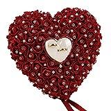Bangle009 Boîte à bagues romantique en forme de cœur pour mariage et fiançailles Jaune rouge vin