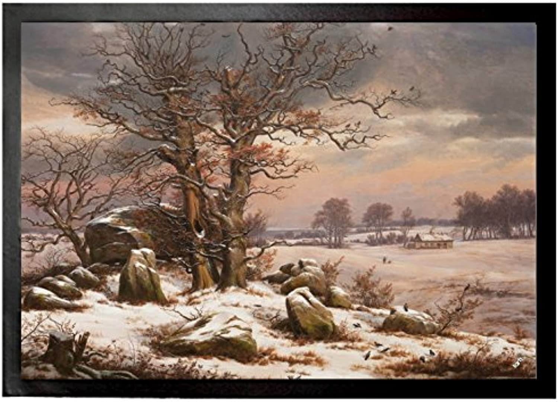 Johan Christian Clausen Dahl Door Mat Floor Mat - Winter Landscape Near Vordingborg, 1829 (28 x 20 inches)