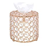 VoiceFly Cylindrical Crystal Tissue Box Cover, Decorative Tissue Box Cover Tissue Holder, Crystal Napkins Container Facial Tissue Holder for Elegant Decor, Gold