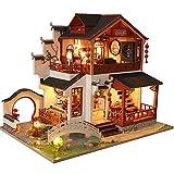 September-Eur Ope DIY 1:24 pequeña villa chaohua estilo chino, escoge la noche de la mini casa de muñecas chinas artesanías para enviar a amigos y familiares el mejor regalo luces LED