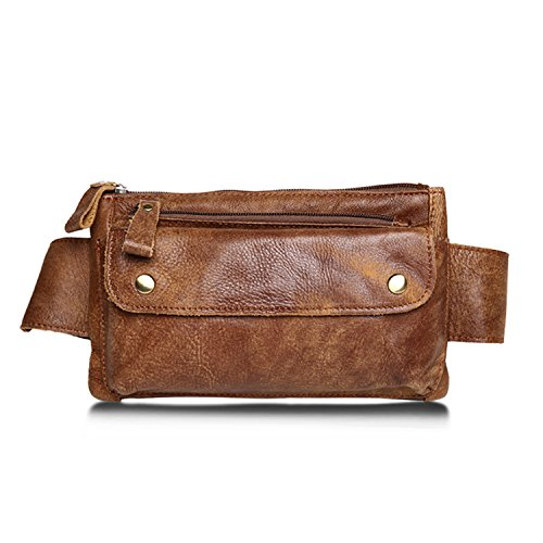 Jonon Unisex Bolso de cintura de cuero genuino marrón Messenger Fanny Pack Bum Bag para hombres Mujeres Deportes de viaje Correr