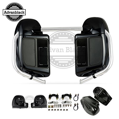 US Stock Moto Onfire Lower Vented Fairings, Vivid Black, Rushmore Leg Warmers, 6.5' Speaker Pods Fit for H-D Touring, Street Glide, Road King, Road Glide, 2014 2015 2016 2017 2018 2019 2020 2021