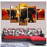 YYZCM 5 lienzos Cuadros abstractos Decoración del hogar Arte de la pared 5 Piezas Animales Elefantes Familia Puesta de sol Pinturas de paisajes Impresiones en lienzo modulares Carteles