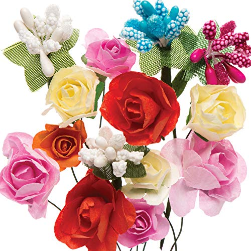 Baker Ross Paper Flower Assortment — Creative Art Supplies for Kids, Spring Crafts, Gift Wrap, and Decorations (Pack of 42)