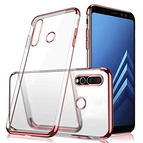 MoreChioce kompatibel mit Huawei Nova 4 Hülle,Huawei Nova 4 Chrom Hülle,3 in 1 Glitzer Paillette Strass Transparent Silikon Handyhülle Kristall Flexible Gel Rose Gold Stoßfest Bumper