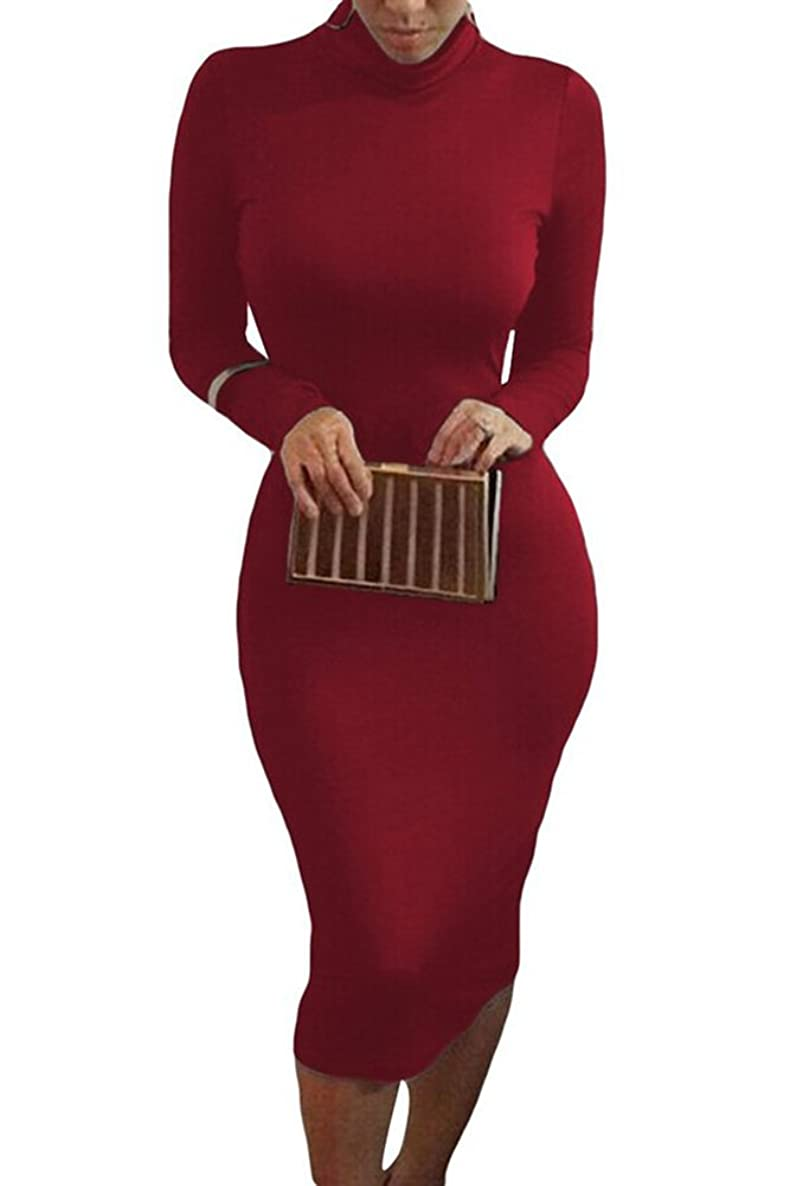 YiYaYo Womens Turtleneck Long Sleeve Mid Length Bodycon Bandage Pencil Midi Dress