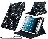 Navitech Housse à Pois Noir et Blanc 7 Pouces avec Support intégral + Stylet idéal HP 7 Plus 1301 / HP Slate 7 HD/HP...