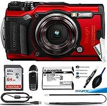 Olympus Tough TG-6 Waterproof Camera, Red -64GB Basic Bundle