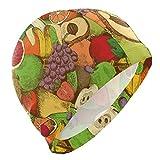 Wodann Gorro de baño Patrón de Frutas Gorro de baño Colorido de Uvas de plátano para Hombres Niños Adultos Jóvenes...