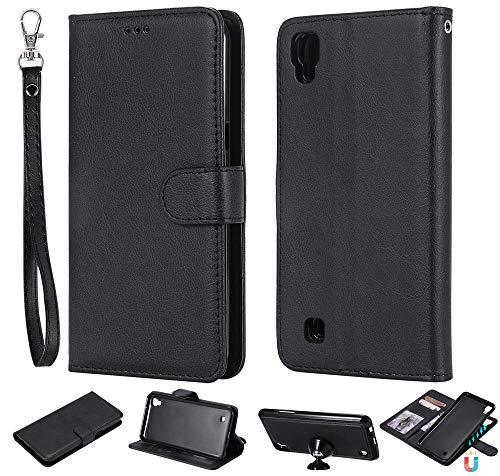 Capa carteira XYX para LG X Power, 2 em 1 de couro PU com capa fina removível e suporte magnético para carro para LG X power/K220/LS755/US610/K450 (Preto)