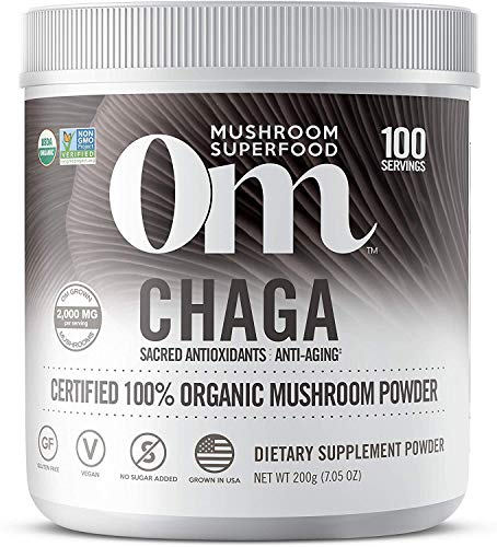 Om Organic Mushroom Nutrition Supplement, Chaga: Sacred Antioxidants, Anti Aging, 100 servings, 7.14oz, 200 Gram