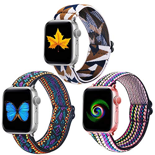 Dsytom 3 Pack Elastic Band Compatible with Apple Watch Bands 38mm 41mm 40mm 42mm 44mm 45mm, Adjustable Stretchy Pattern Nylon Bands Replacement Wristband for iWatch Series 7/6/5/4/3/2/1 SE for Women