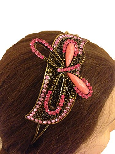 Pamper Yourself Now Pink/pfirsich farbige Libelle-Design Haarband, Stirnband mit hübschen Steinen (Pink/peach Dragonfly design aliceband, headband with pretty stone)