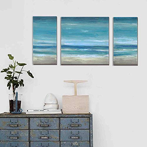 3Hdeko - Ocean Wall Art Abstract Beach Pictures Coastal Wall Decor Modern 3 Pieces Teal Blue Seascape Painting for Home Living Room Bedroom Bathroom, Canvas Prints, Ready to Hang