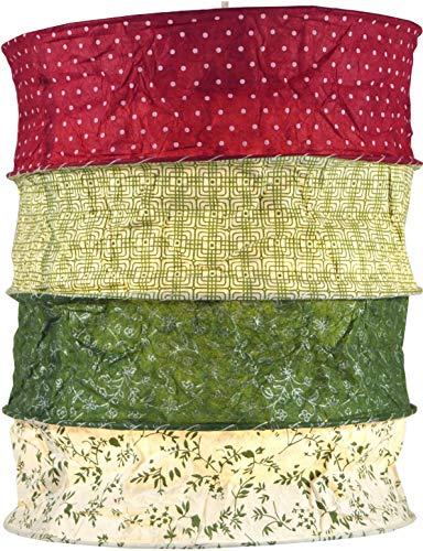 Guru-Shop Runde Papier Hängelampe, Lokta Papierlampenschirm Kailash, Handgeschöpftes Papier - Rot/grün, Lokta-Papier, 35x28x28 cm, Asiatische Deckenlampen aus Papier & Stoff