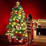 Ibello Arbre de Noël Lumineux 50LED Sapin en Feutre Enfant DIY avec 32 Ornements Détachables Décoration Suspension Murale de Porte Cadeaux de Noël