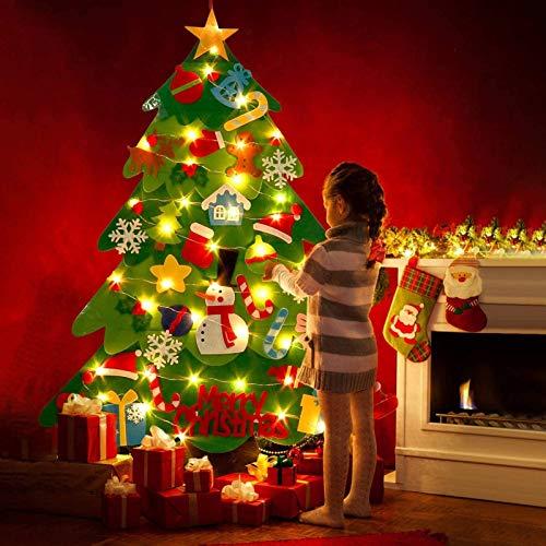 Ibello Árbol de Navidad de Fieltro Árbol Navideña DIY con 50 Led y 32 Adornos Juguete de Navidad para niños pequeña decoración de Navidad Decoración para Pared Casa
