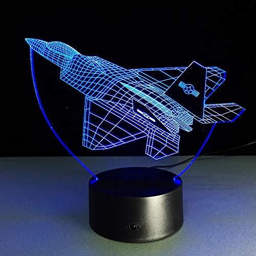 Chengdu J-20 Kämpfer 3D Nachtlicht Neuheit LED Flugzeug Form Tischlampe 3D Licht Touch Schalter Jet Nachtlicht Kinder Abnehmbare Gif Fernbedienung und Touch Bar Club Abende Geschäfte Kaffee Rest
