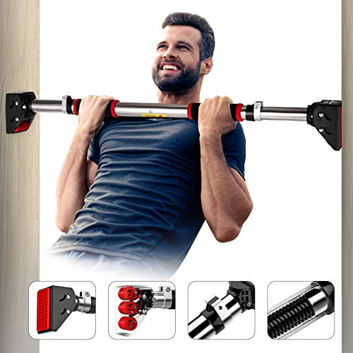 Vinsguir Pull Up Bar for Doorway Pullup bar, No Screw Installation Chin up Bar for Home Gym Exercise, 28.3-36.2 Inches Adjustable Width - Upgraded Thickened Steel &440 LBS (180-days Free Return)