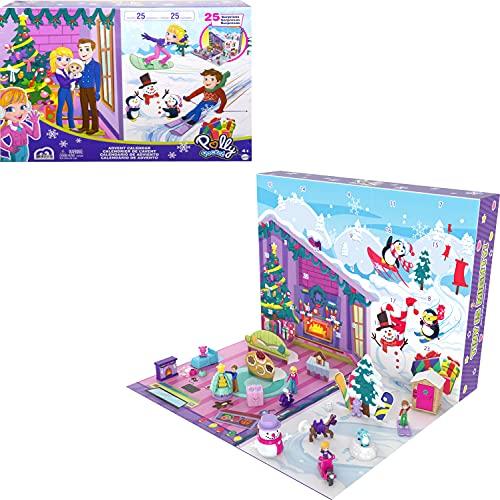 Polly Pocket Calendrier de l'Avent sur le thème de Noël en famille avec 25surprises, jouet pour enfant dès 4 ans, GYW07