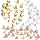 Allazone 72 Pz 3D Mariposas Pegatinas de Pared Mariposas 3D Mariposas Decorativas Decoraciones de Mariposas para Habitación Inicio Aula Oficinas Decoración de Dormitorio, Oro Rosa, Oro, Plata