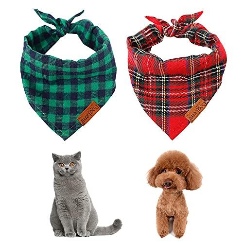 LALFPET 2 waschbare Hundehalstücher Weihnachten Bandana Haustier Schal Geburtstagsgeschenk Dreieckstuch Hunde-Lätzchen Kostüm Dekoration Zubehör für kleine bis große Hunde Katzen Geschenke