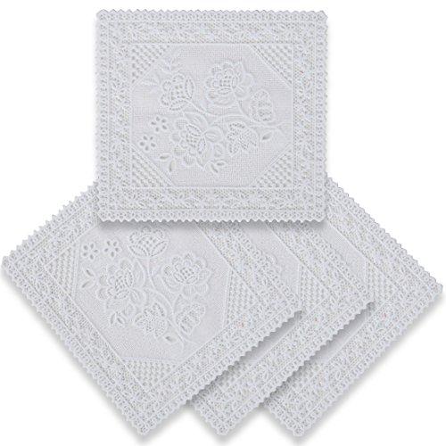 home-x quadratisch Spitze Look Kunststoff Untersetzer–Set von 4