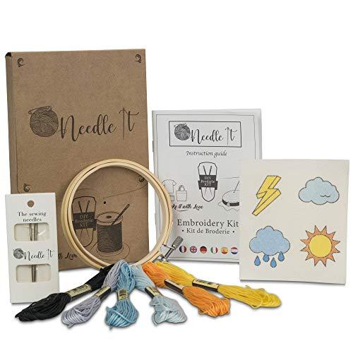 Needle It – Kit Bordado: Punto de cruz para principiantes – Diseños impresos para bordar - camiseta, tote - bag, bolso de mano - para bordar por ti mismo (Tiempo)