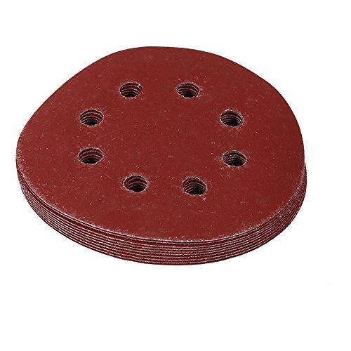 10Pcs 125 mm Disco de Lija con 8 Agujeros Discos de Lijado Redondo Disco de Lija de Gancho y Lazo 60-1000 Granos (800#)