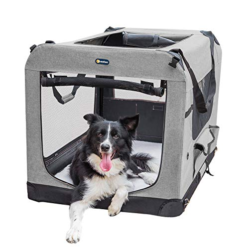 "Veehoo Folding Soft Dog Crate, 3-Door Pet Kennel for Crate-Training Dogs, 5 x Heavy-Weight Mesh Screen, 600D Cationic Oxford Fabric, Indoor & Outdoor Use, 32"", Gray Basic Crates"
