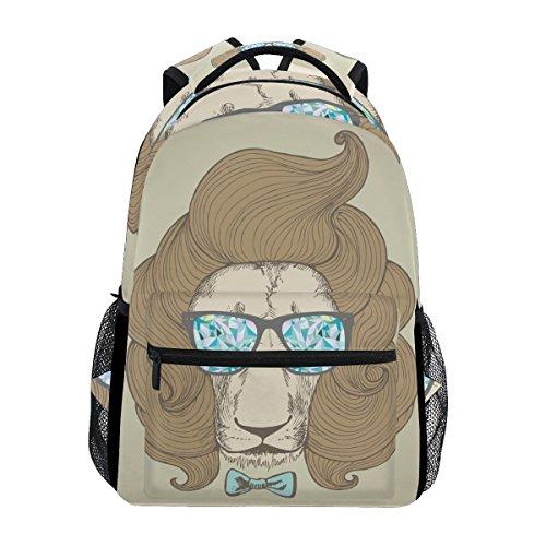 TIZORAX Chic Haarschnitt mit Brille Löwe Hochformat Rucksack Schulranzen Segeltuch Wandern Reise Rucksack