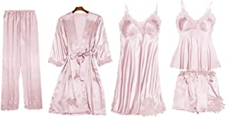 5PCS Women Girls Pajama Set Nightgown Sleepwear Set Sexy Lace Nightwear Casual Elegant Homewear Suits
