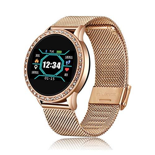 LXF JIAJU Moda Smart Watch Mujeres Hombres Deporte Reloj Impermeable Tasa De Corazón Monitor De Sueño para El Recordatorio De Llamada De iPhone Bluetooth SmartWatch (Color : Rose Black)
