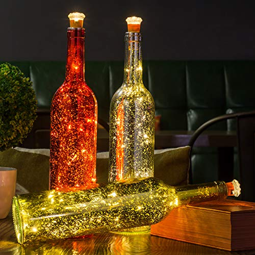 HUAFA 3 Pack Wine Bottle Lights (Gold&Red&Silver Bottle), Powered by 3 Pieces LR44 Battery(Included), Decorative Lights for Party, Home Decor, Christmas, Halloween, Wedding, Bars