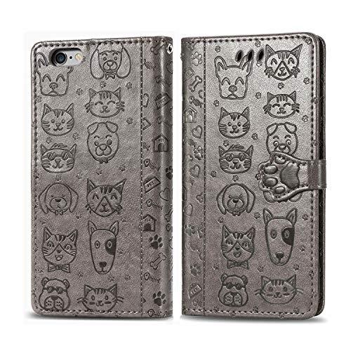 Miagon PU Pelle Portafoglio Custodia per iPhone 6 Plus 6S Plus,Gatto Cane Goffratura Flip Case Cover con Sportellino Clip Magnetica e Porta Carte e Supporto Cordino,Grigio