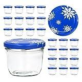 CapCro 25er Set Sturzglas 230 ml to 82 Deckel mit Schneeflocken Marmeladenglas Einmachglas...