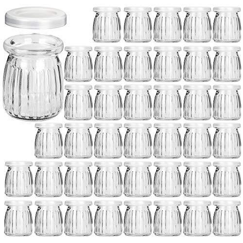 Glass Jars, KAMOTA 40 PACK 4 oz Yogurt Jars With PE Lids, Glass Pudding Jars Yogurt Jars Ideal for Jam, Honey, Wedding Favors, Shower Favors, Baby Foods (150ml)
