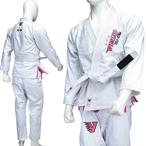 VELO. Damen BJJ GI Brazilian Jiu Jitsu Anzug Uniform 100% Baumwolle F1 F4 Karate Pink, F1