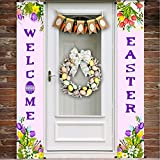 iGeeKid Easter Decorations Easter Porch Sign Welcome Happy Easter Spring Hanging Banner Sign for Wall Door Yard Home Party Easter Decor Outdoor Indoor (Light Purple)