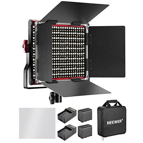 Neewer Dimmbar Zweifarbig 660 LED-Videoleuchte mit wiederaufladbarem Akku und Ladegerät 6600 mAh Beleuchtungsset 3200-5600 K, CRI 96+ mit U-Halterung