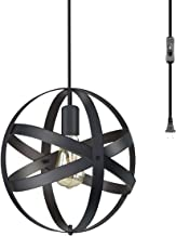 CHICLUX Spherical Plug in Pendant Light, Metal Cage Globe Ceiling Lighting Industrial Vintage Chandelier with On/Off Switch for Bedroom Living Room Kitchen, Oil Rubbed Black