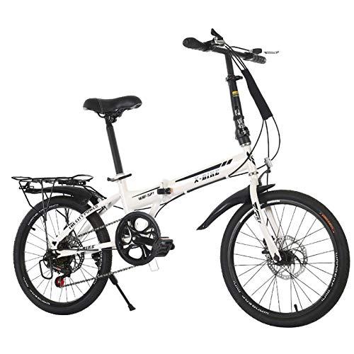 Bicicleta Plegable Velocidad Variable 20 Pulgadas, Bikes Plegable Urbana Portátil Freno Mecánico De Doble Disco para Boy Adultos Chica De La Bicicleta De La Bicicleta Infantil A,20 Inches