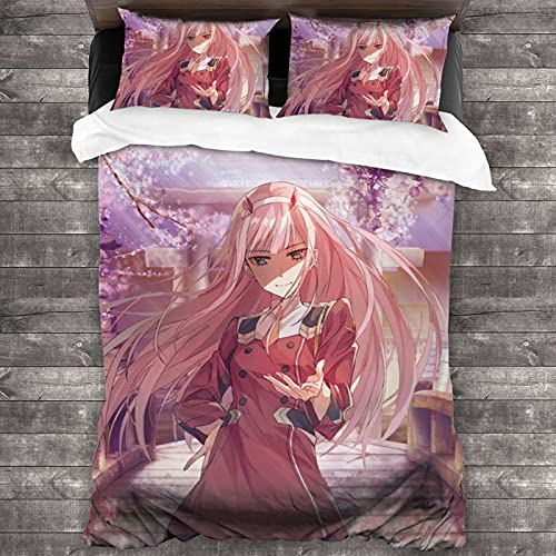 Darling Franxx Zero Two Bedding - Juego de cama de microfibra para el hogar, 3 piezas, 1 funda de edredón con cremallera oculta, 2 fundas de almohada, bolsillo de estilo sobre de 200 x 172 cm