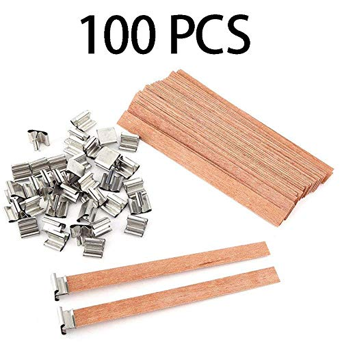 US Warehouse - Xennos Candle Wicks - 100Pcs 13X130mm Natural Wood Candle Wicks with Sustainer Tab DIY Candle Making Supplies Soy Parffin Wax Wick for Family