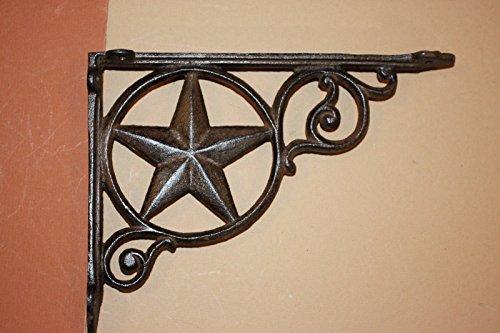 Southern Metal Set of 10 Texas Farm Ranch Shelf Brackets Lone Star, Heavy Cast Iron 9 inch x 6 1/2 inch Volume Priced, B-19