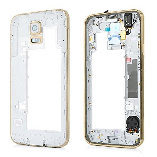 Genieforce Marco central para Samsung Galaxy S5 G900F, plateado, marco medio con...