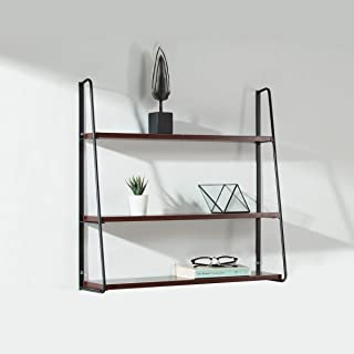 Industrial Floating Shelves Wall Mounted 3 Tiers Hanging Wall Shelf with Metal Brackets Storage Organizer Rack Display Unit (Mahogany)